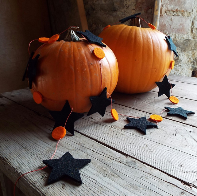 Halloween Pumpkin and Star Garland