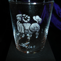 Aries Star Sign Glass