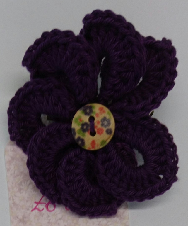 Cotton Plum Purple Pin Wheel Flower Brooch - crochet