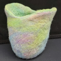 Pastel Merino felted vessel desk tidy