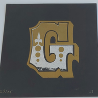 G limited edition letterpress print