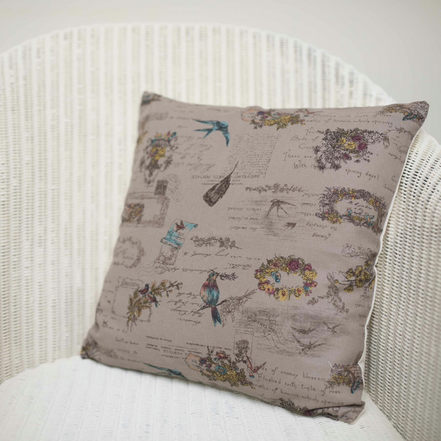 Taupe Bird and Floral Cushion Cover