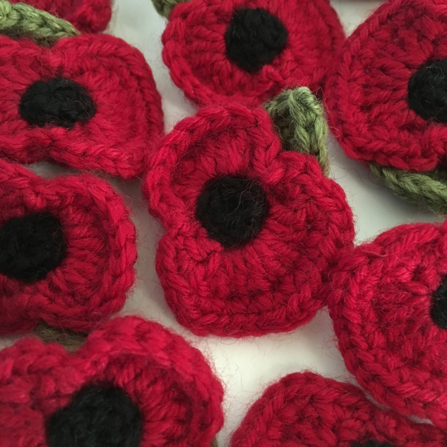 Crocheted Remembrance Poppy