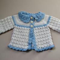 Newborn Blue & White Cardigan