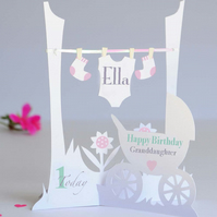 Personalised 3.D  Paper Cut 1st Birthday Card for a Baby Girl.