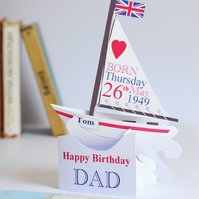 Pop-up Personalised Sailing Boat Birthday Card for Dad.