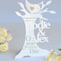 Personalised 3d Paper Cut wedding, Anniversary, Engagement Card.