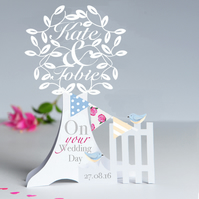 Personalised 3D Popup Paper Cut Wedding,Anniversary,Engagement Card .