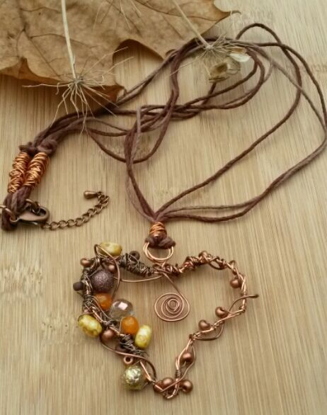 Copper Wire Heart Pendant, Beaded, Earthy, Hippie,  Gift, Boho, Woodland.