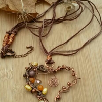 Copper Wire Heart Pendant, Beaded, Earthy, Hippie,  Gift, Boho.