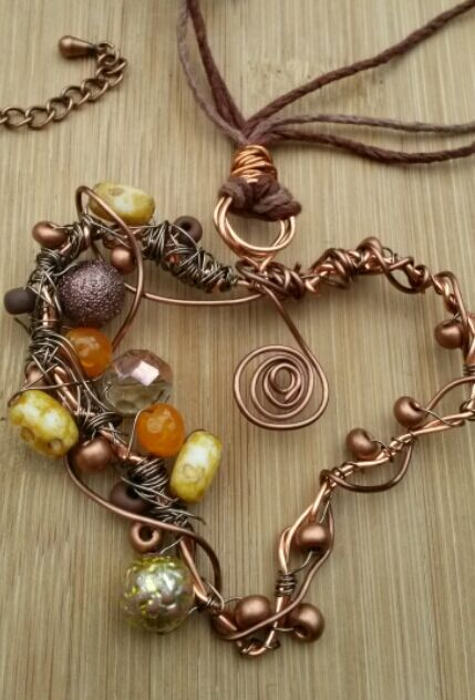 Autumn Copper Wire Heart Necklace, Handmade, Beaded, Earthy, Spiral, Hemp Cord