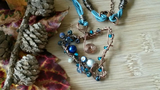 Copper Wire Sky Blue Heart Necklace, Beaded, Handmade, Earthy, Spiral, Hemp Cord
