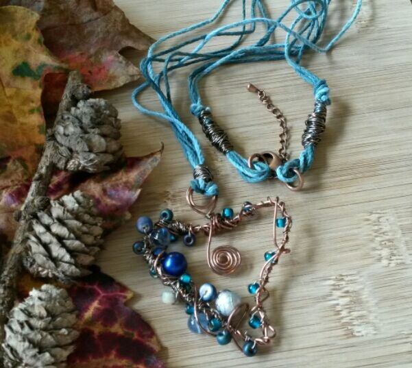 Sky Blue Copper Wire Heart Pendant, Earthy, Hippie, Gift, Statement, Boho.