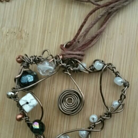 Autumn Copper Wire Heart Necklace, Beaded, Handmade, Earthy, Spiral, Hemp Cord