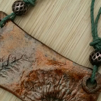 Autumnal Clay Real Wildflower Pendant Necklace, Rustic, Garden, Handmade.