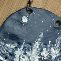 Snowy Pine Hanging Decoration, Wall Art, Gift, Hippie, Boho.