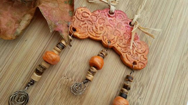 Autumnal Shimmering Cloud, handmade, terracotta clay, hanging decor, wall art