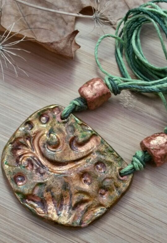 Autumnal Clay Necklace, Swirl Imprint, Hemp Cord, Handmade.