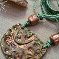 Rustic, Autumnal Clay Necklace, Swirl Imprint, Hippie, Gift, Natural, Garden.
