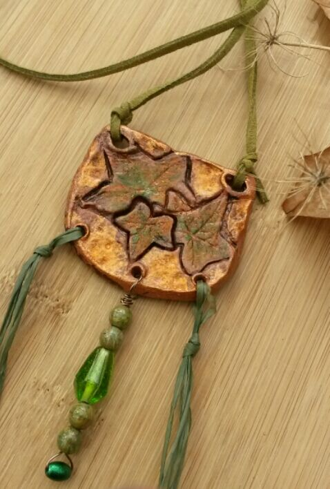 Rustic, Autumnal Clay Necklace, Ivy Leaf  Pendant, Hippie, Gift, Natural, Garden