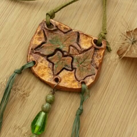 Ivy Leaf  Pendant Necklace, Rustic, Hippie, Gift, Natural, Garden, Boho.