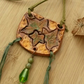 Autumnal Clay Necklace, Ivy Leaf  Pendant, Faux Suede Olive Cord, Handmade.