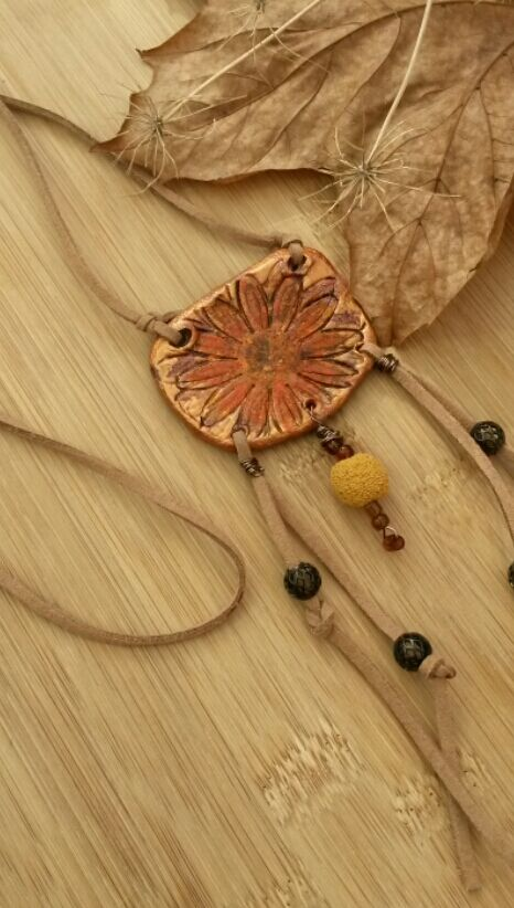 Autumnal Clay Necklace, Sunflower Pendant, Faux Suede Natural Cord, Handmade.