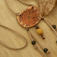 Sunflower Pendant Necklace, Rustic, Hippie, Gift, Natural, Garden, Boho.