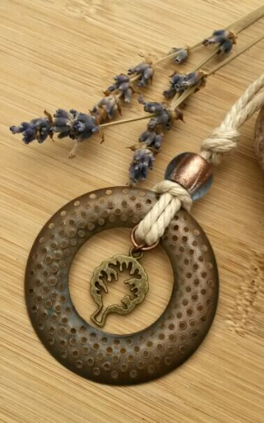 Rustic Copper Hoop Pendant, Tree Charm Necklace, hippie, boho, Woodland.