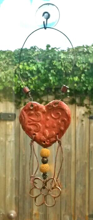 Autumnal Clay Heart Sunflower, Wall Hanging, hippie, suncatcher, boho, woodland.