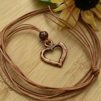 Rustic Heart Pendant Necklace, Natural, Hippie, Boho, Woodland.