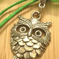 Forest Green Owl Charm, Rustic, Earthy, Hippie, Gift, Boho.