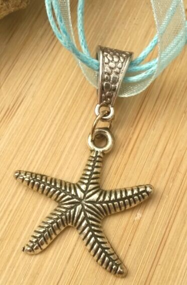 Starfish Charm, Pendant Necklace, Organza Ribbon, Rustic, Earthy, Hippie, Gift.