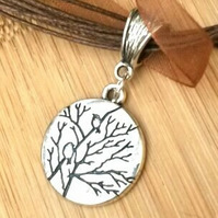 Antique Silver Tone Tree and Bird Charm Necklace, Earthy, Hippie, Boho, Woodland