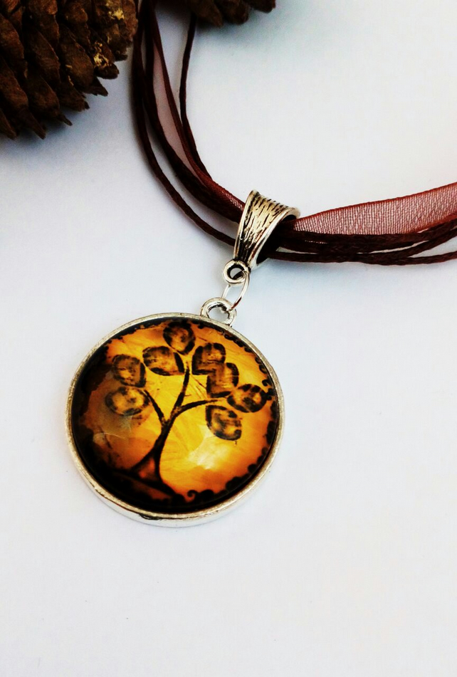Tree of Life Glass Cabochon Charm, Organza Ribbon, Earthy, Hippe, Boho, Woodland