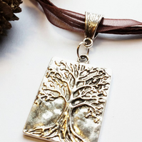 Tree of Life Pendant Necklace, Organza Ribbon, Earthy, Hippie, Boho, Woodland.