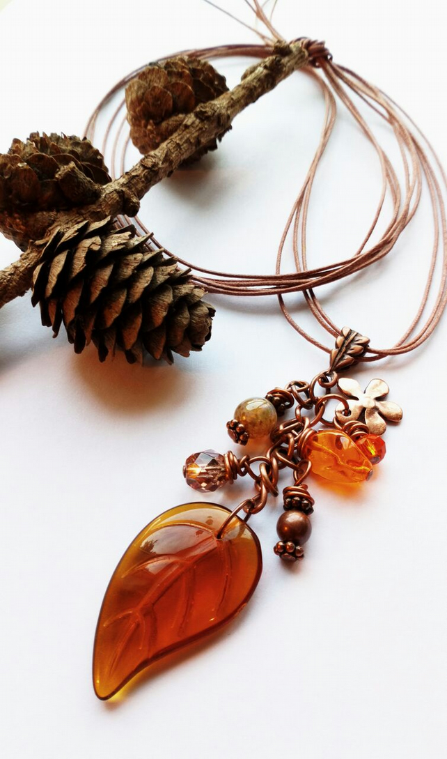 Amber Leaf Cluster Charm Necklace, Rustic, Hippie, Boho, Woodland.