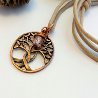 Intertwined Copper Tree Pendant, Czech Glass Bead, Hippie, Earthy, Woodland
