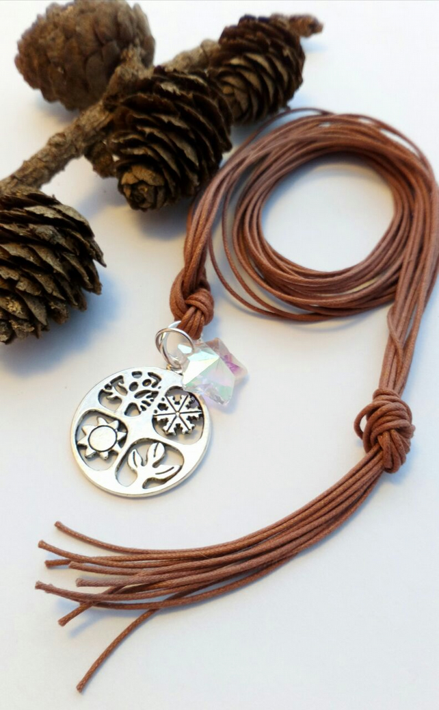 Four Seasons and Star Pendant Necklace, hippie, boho, nature, Woodland.