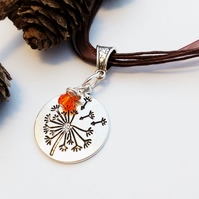 Dandelion Necklace with Burnt Orange Charm, Nature, Love Gift, Gift Ideas xx