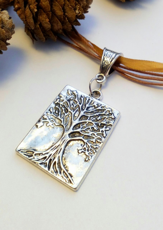 Autumnal Tree of Life Pendant Necklace, Earthy, Hippie, Natural, Boho, Woodland.