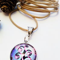 Tree of Life Glass Cabochon Charm Necklace, hippie, boho, garden, Woodland.
