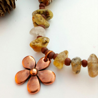 Copper Flower Gemstone Necklace,  Rustic, Hippie, Gift, Boho, Woodland.
