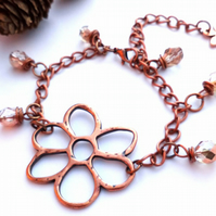 Copper Daisy Bracelet, Copper Chain, Earthy, Hippie, Boho, Woodland.