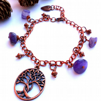 Intertwined Tree Bracelet, Copper Chain, Gemstone, Earthy, Hippe, Woodland
