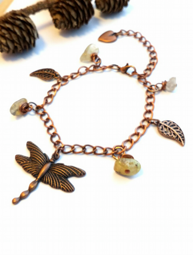 Dragonfly Bracelet, Copper Chain, Gemstone, Earthy, Hippie, Boho, Woodland.