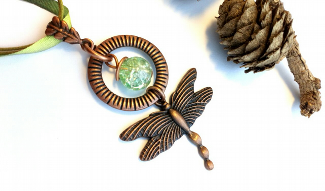 Rustic Dragonfly Pendant Necklace, Forest Green, Woodland, Hippie, Gift, Boho.