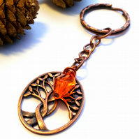 Intertwined Tree Keyring or Handbag Charm, Burnt Orange, Earthy, Woodland.