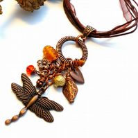 Dragonfly Charm Pendant Necklace, Antique Copper, Woodland, Hippie, Gift, Boho.