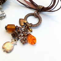 Copper Ladybird Cluster Charm Necklace, Rustic, Hippie, Gift, Boho, Woodland.